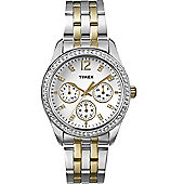 Timex Ladies Wms Two Tone Multi With Crystals Watch T2P193