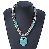Ethnic Turquoise Stone Snake Chain Necklace In Silver Tone - 44cm Length/ 6cm Extension