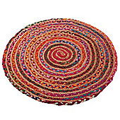 Ian Snow Plaited Traditional Rug - Round 100 cm x 100 cm (3 ft 3 in x 3 ft 3 in)