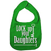 Dirty Fingers Lock up your Daughters Baby Bib Green