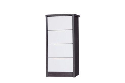 Alto Furniture Avola 4 Drawer Tall Boy Chest - Grey Avola Carcass With Cream Gloss