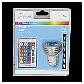 3w - Crystalite - LED Colour Changing - GU10 - 16 Colour Modes / 4 Transition Modes - Remote Control - 5m Range - 1 pk - in a Clam Shell