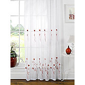 Melissa Embroidered Voile Panel - Red