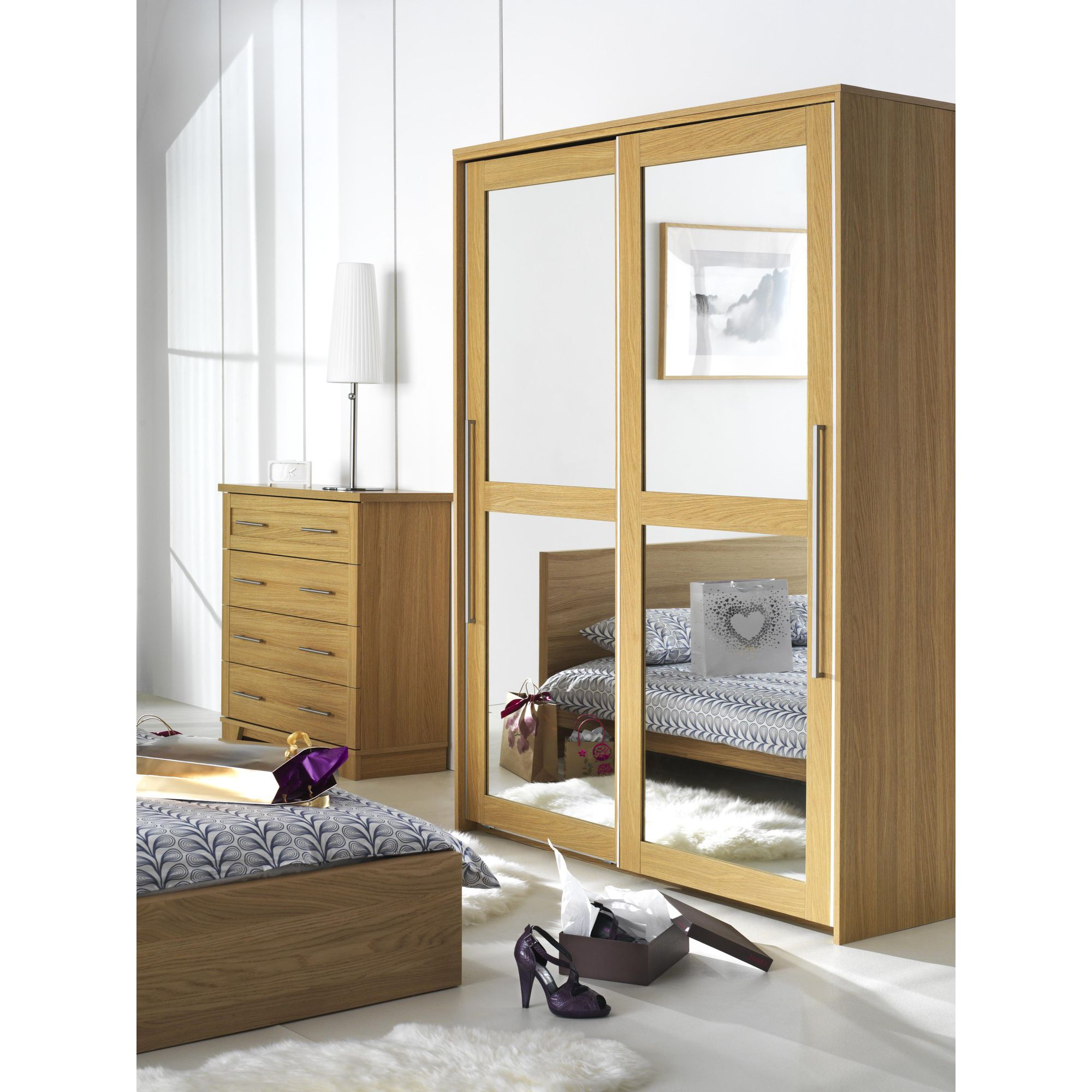 Caxton Melody 2 Door Mirrored Sliding Door Wardrobe in Natural Oak at Tesco Direct