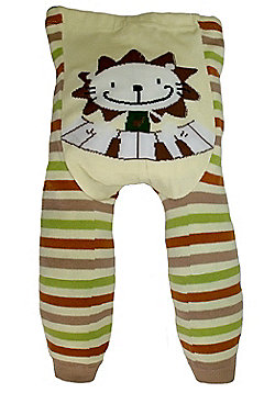 Dotty Fish Knitted Baby Leggings - Cream and Brown Stripe Musical Lion - Cream
