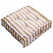 Homescapes Cotton Beige Thick Stripe Floor Cushion, 50 x 50 cm