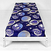 Catherine Lansfield Home Kids Astronaut Multi Coloured Single Fitted Sheet Cotton Rich