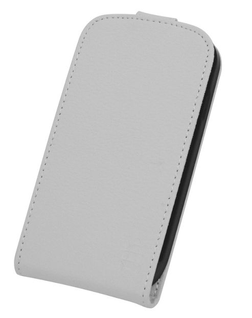 Tortoise™ Genuine Leather Flip Case Samsung Galaxy SIII Mini White
