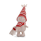 Character Snowman in Red & White Hat & Scarf with Hands Down Christmas Ornament