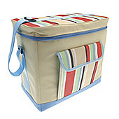 Country Club Jumbo Cooler Bag, Cream & Multi Stripe, Blue 36x22x32cm