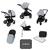 Ickle Bubba Stomp v3 AIO Travel System + Isofix Base, Mosquito Net & Cup Holder - Silver (Black Chassis)
