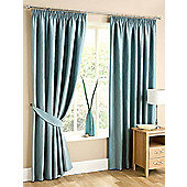 Swirl Lined Ready Made Curtains - Blue