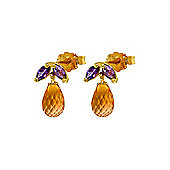 QP Jewellers Amethyst & Citrine Petite Galanthus Stud Earrings in 14K Gold
