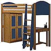 Verona High Sleeper Bed Set 1 Antique With Blue Details