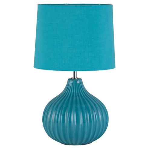 Tesco Lighting Ellert Ribbed Ceramic Table Lamp, Soft Teal