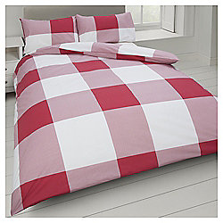 Oversize Check Double Duvet Set -Red