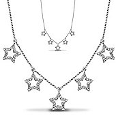 Jewelco London Rhodium Coated Sterling Silver CZ rhodium set star Necklace Charm Chain - Ladies