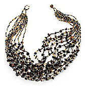 Multistrand Glass & Semiprecious Bead Necklace (Black & Light Brown)