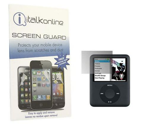 iTALKonline S-Protect LCD Screen Protector and Micro Fibre Cleaning Cloth - For  iPod Nano 3G 4GB/8GB
