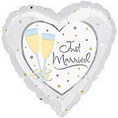 "18"" Foil Just Married - White (each)"