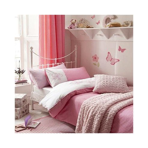 Catherine Lansfield Home Kids Flutterbye Double Bed Quiltset Pink