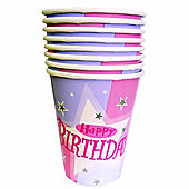 Pink Shimmer Happy Birthday Paper Cups.