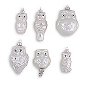 Set of Six Silver Glass Owl Christmas Decorations Hanging & Clip On