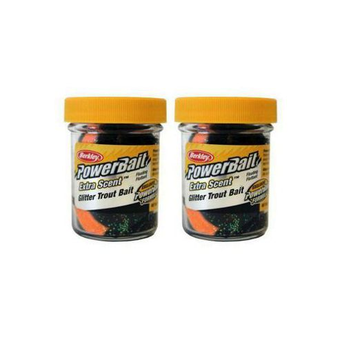 Berkley Powerbait Select Glitter Troutbait - Black/Orange Twin Pack