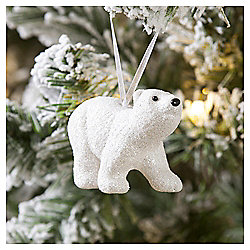 Silver Glitter Polar Bear Christmas Tree Decoration