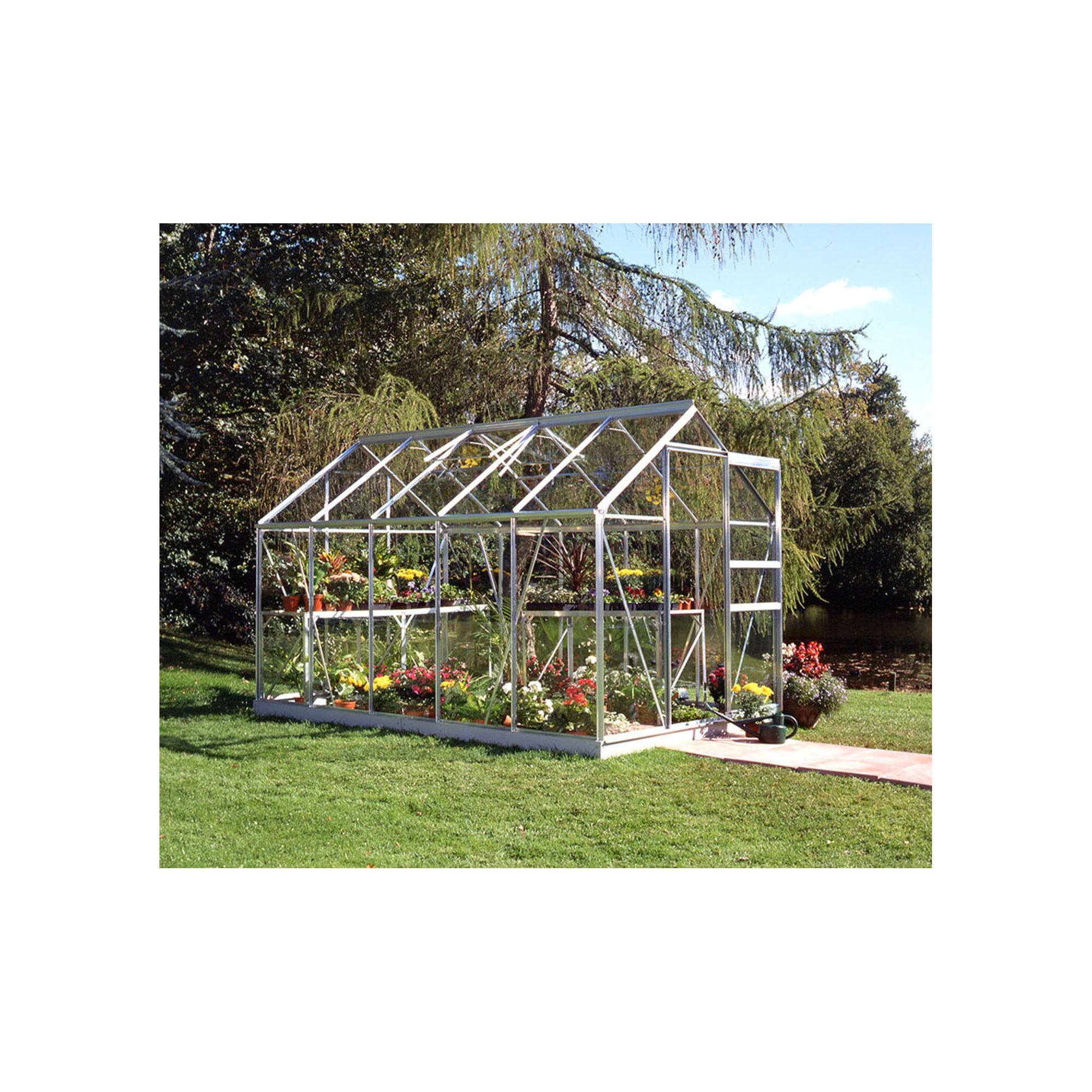 Halls 10x6 Popular Aluminium Greenhouse + Base - Toughened Glass at Tesco Direct