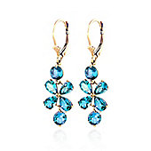 QP Jewellers 5.32ct Blue Topaz Blossom Bloom Earrings in 14K Gold
