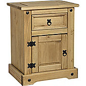 Pair of Corona 1 Drawer 1 Door Bedside Cabinet, Solid Mexican Pine