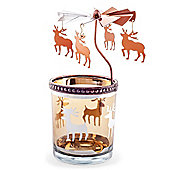 Copper Metal & Glass Carousel Christmas Tea Light Holder with Reindeer