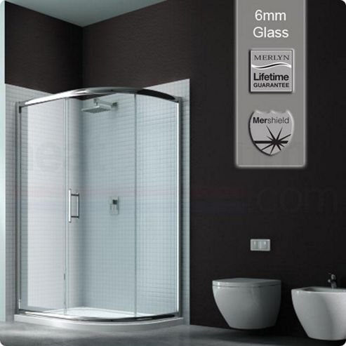 Merlyn Series 6 Sliding 1 Door Offset Quadrant Shower Enclosure, 1200mm x 800mm, Low Profile Tray, 8mm Glass