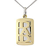 Sterling Silver and 9ct Gold Overlay Cubic Zirconia 'Dad' Pendant with Chain