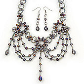 Lavender Glass Bead Gothic Costume Choker Necklace And Earring Set In Silver Plating