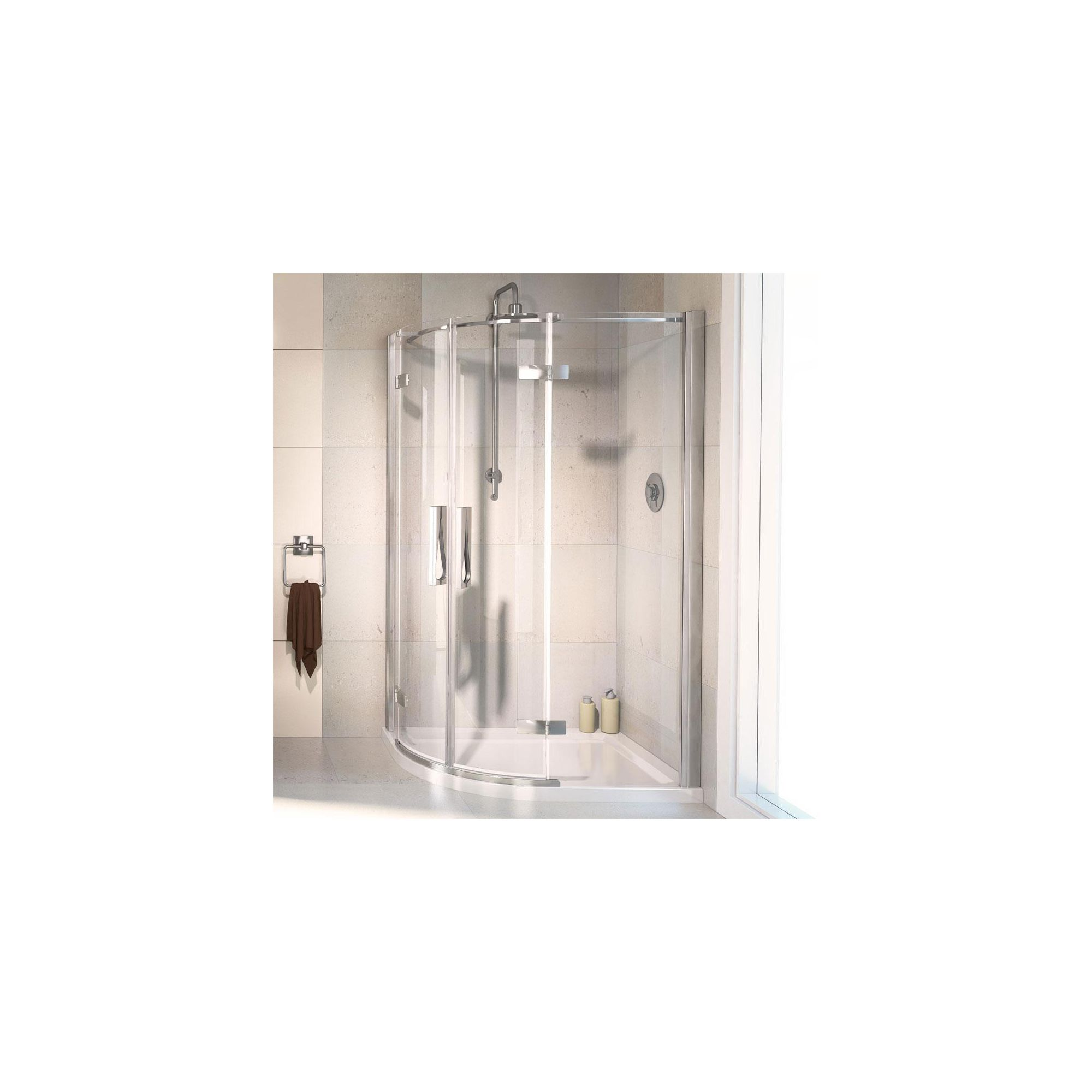 Aqualux AQUA8 Hinge Offset Quadrant Shower Door, 1200mm x 900mm, Polished Silver Frame, 8mm Glass at Tesco Direct