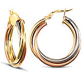Jewelco London 9ct Yellow,White & Rose Gold Russian Wedding Ring design Twisted hoop Earrings