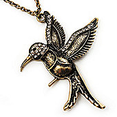 Bronze Tone 'Hummingbird' Long Pendant Necklace - 70cm Length