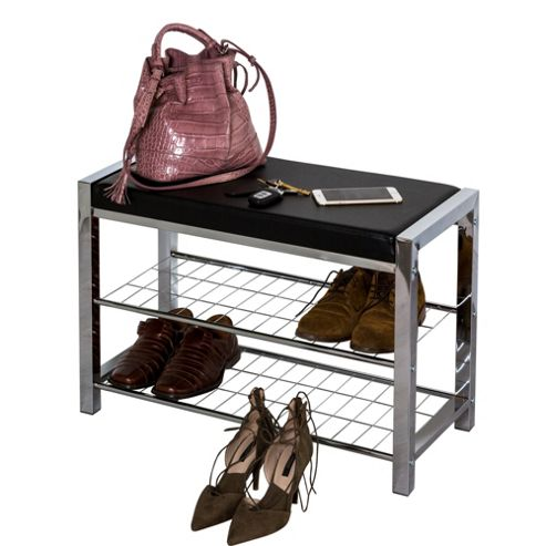 buy 3 tier chromed storage shoe rack with bench from our. Black Bedroom Furniture Sets. Home Design Ideas
