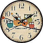 Round Owl Wall Clock