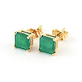 QP Jewellers 2.90ct Emerald Princess Stud Earrings in 14K Gold