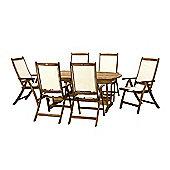 Edinburgh 7pc Dining Set - Edinburgh 240cm Extension Table V Leg with 6 Henley Recliner Chairs