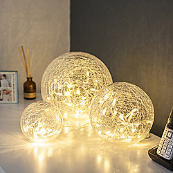 Set of 3 Warm White Battery LED Fairy Light Orbs