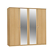 Amos Mann furniture Ruby Extra Wide 4 Door Wardrobe - Light Oak