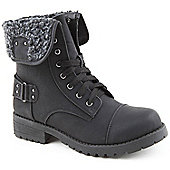 Emilio Luca X Red Ladies Knitted Workman Black Ankle Boots - Black