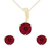 Gemondo 9ct Yellow Gold Natural Ruby Round Stud Earring & 45cm Necklace Set