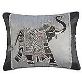 Decorative Beaded Cushion - Silver/ Black