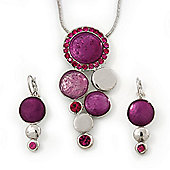 Rhodium Plated Fuchsia Enamel, Crystal 'Multi Circle' Pendant & Drop Earrings Set - 38cm Length/ 5cm Extension