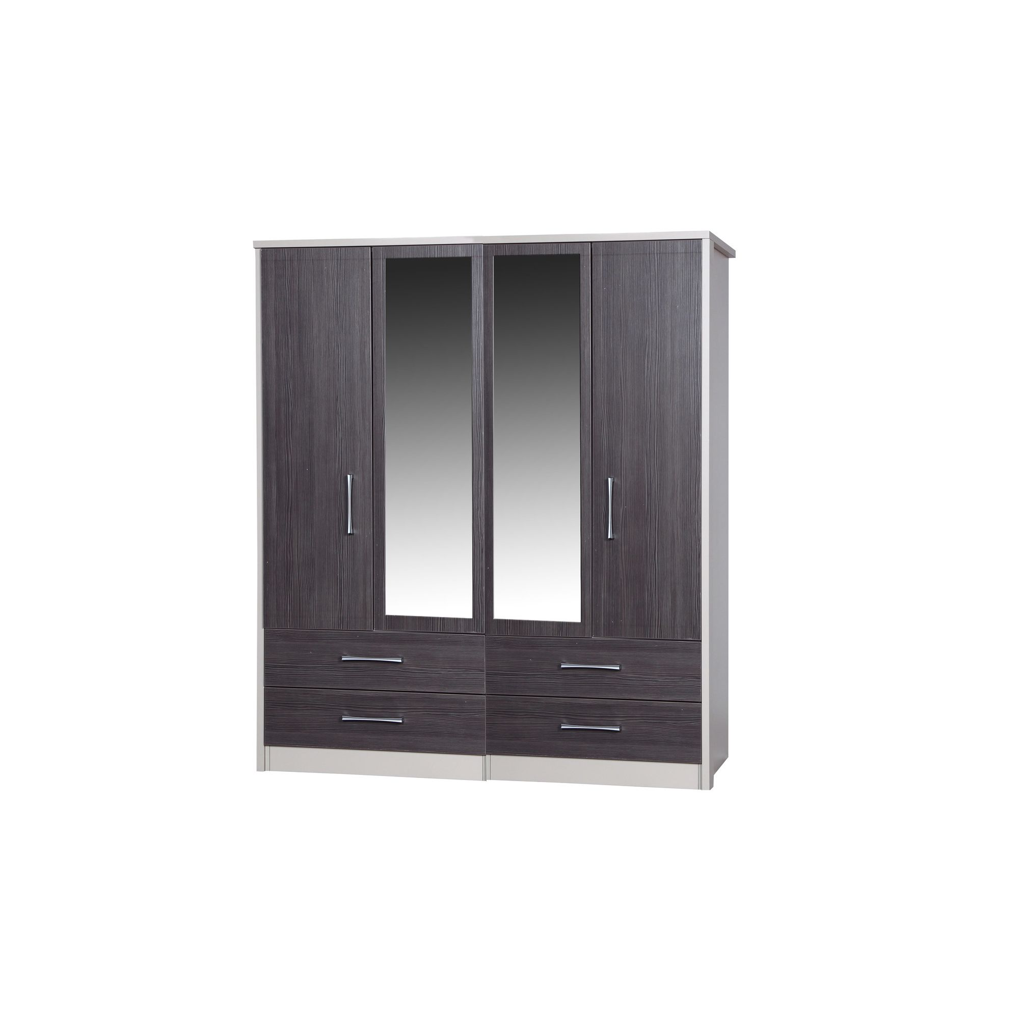Alto Furniture Avola 4 Door Combi Wardrobe with 2 Mirrors - Cream Carcass With Grey Avola at Tescos Direct